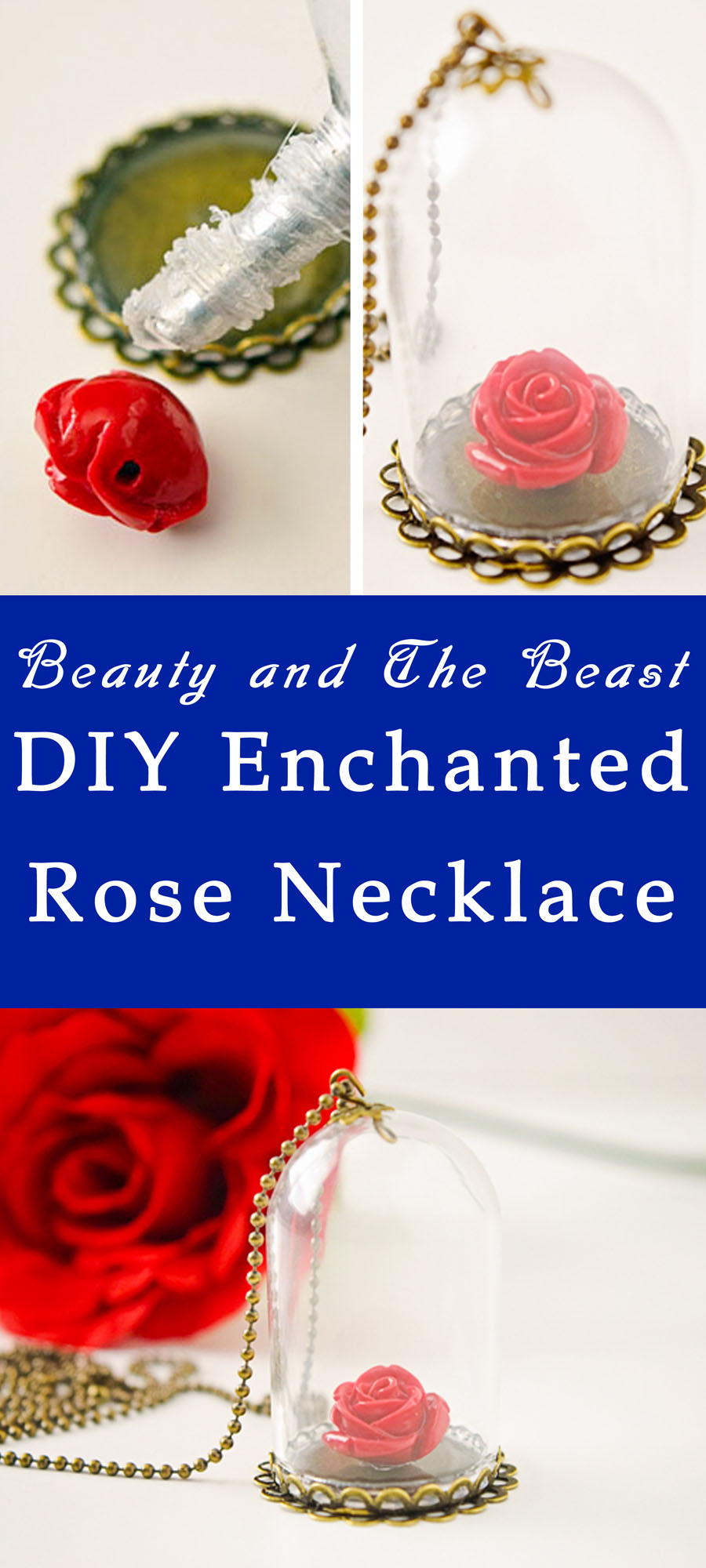 Beauty Amp The Beast Enchanted Rose Necklace Your Everyday